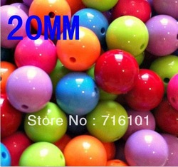 Mix Color 112PCS Solid color Acrylic beads 20MM Chunky beads for DIY fashion Children&#39;s Jewelry!!(China (Mainland))