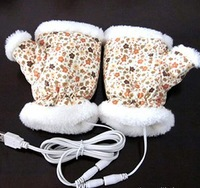 2012 NEW Free shipping,NEW,10 pcs christmas usb warmer Gloves,usb Gloves,warmer Floral style  Gloves
