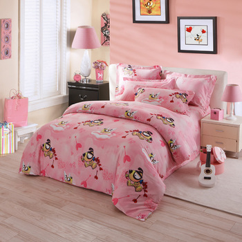 High Quality Luxurious Colorful Floral Reactive Print 100% Cotton Cartoon  Dog 4pcs Bedding Set Home Textile BC12387