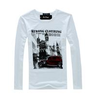 2012 Hot-Sale Car Print Quality O-Neck Men's Clothing Long-Sleeve T-Shirt Free Shipping