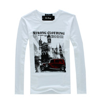2012 Hot-Sale Car Print Quality O-Neck Men's Clothing Long-Sleeve T-Shirt Free Shipping