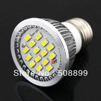 Freeshipping 7W E27 LED Bulb Spotlight 16LEDs SMD 5630 220V W/ Cover Pure White,2pcs/lot +Dropshipping