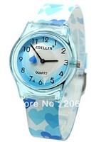 New WILLIS Heart-shaped Children watches Wrist Watch (Pink.blue)+free shipping