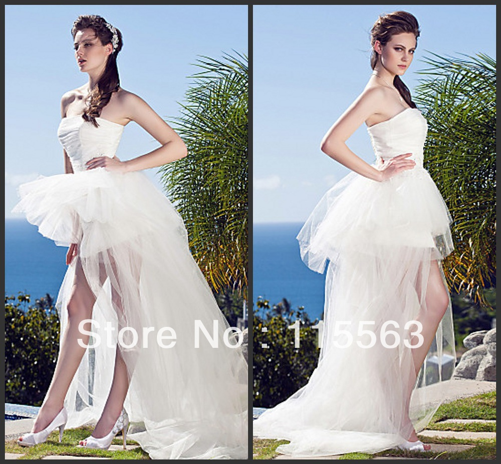Custom Made Free Shipping Sweetheart Tulle White Gown Short Front Long Back Princess Elegant Wedding Party Dress Ebay 2012(China (Mainland))