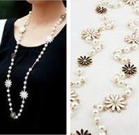 Black&white daisies retro sweet elegant long pearl necklace Min.order $15 mix order