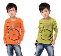 Retail free shipping 2013 New Fashion Children's T-shirt / boys all-match long-sleeve top / bike printing many design for option