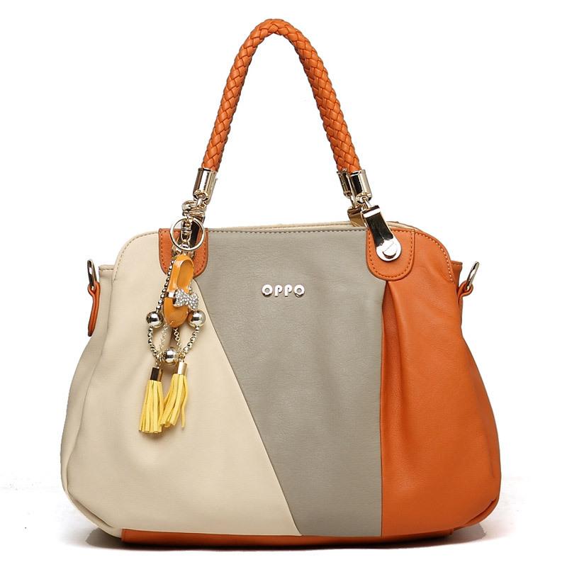 New Star Bags 2012 Hot Fashion High Quality PU Leather Women Hong Kong OPPO Shoulder Bag Popular color blocking Handbag NS9430(China (Mainland))