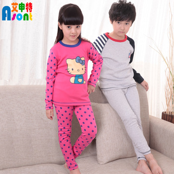 Retail children thermal underwear set girls clothing 100% cotton pajamas for autumn and winter kids pyjamas free shipping
