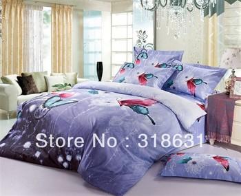 Brand new in package cotton butterfly print round corner design bedlinen QUEEN/FULL duvet cover set (Free Choice of Comforter)