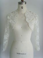 y-23 Elegant Lace Beads Appliques Long Sleeve Wedding Dress Jacket
