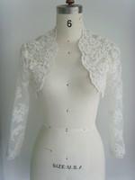 y-23 Elegant Lace Beads Appliques Long Sleeve Wedding Dress Jacket