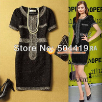 FREE SHIPPING! Retail and Wholesale! Fashion Women's spinning tweed elegant slim black one-piece dress
