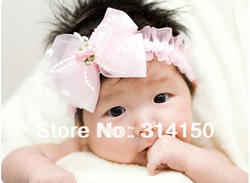 FREE SHIPPING--- Girls hair band accessories Big Bow hair band baby headdress infant headbands fabric flowers 1pcs/lot CP22(China (Mainland))