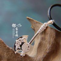 Free shipping handmade  fu word 999 fine silver axe pendant