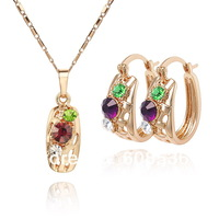 high quality. Free shipping wholesale 18K Gold plated CC color Rhinestone Crystal  jewelry set. Factory price. ss006
