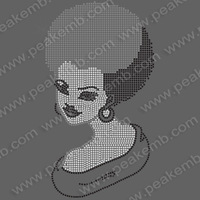 Free DHL Shipping Fast Turnaround 30pcs/Lot Bling Iron On Afro Girl Rhinestone Transfers Design for Garment