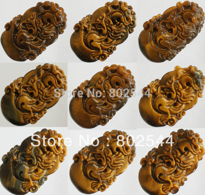 Retail 1pcs Natural Tiger Eye Gemstone Carved Ferocity Imperial Dragon Pendant One of Tranditional Zodiac(China (Mainland))