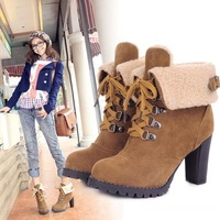 Free Shipping 2013 fashion ladies leather high heel ankle boots for women, winter boots, snow boots and women shoes EU 34-43