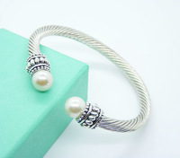 CD5  Promotion sale Free shipping Lovey Christmas Gifts / Wholesale Fashion  jewelry Silver Pearl Bracelet