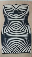 Free Shipping High Quality  knitted HL Bandage Dress J124  Black Strapless Evening Party Dress