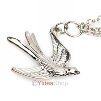 Wholesale - 4pcs Hair Lovely Silver  Swallow Chain Pendant Ponytail Holder Rubber Silver individual  Hair Band Rope 261467