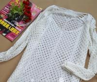Hole hole net unlined upper garment hollow-out sweater knit shirt