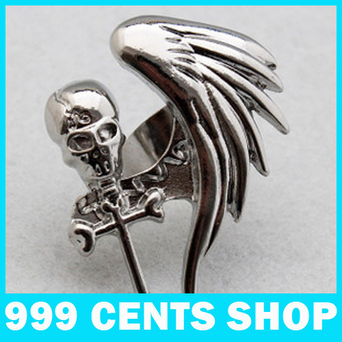 Min.order is $9.99 (mix order) Fashion Silver Skull Wings Large Gas Ring(China (Mainland))
