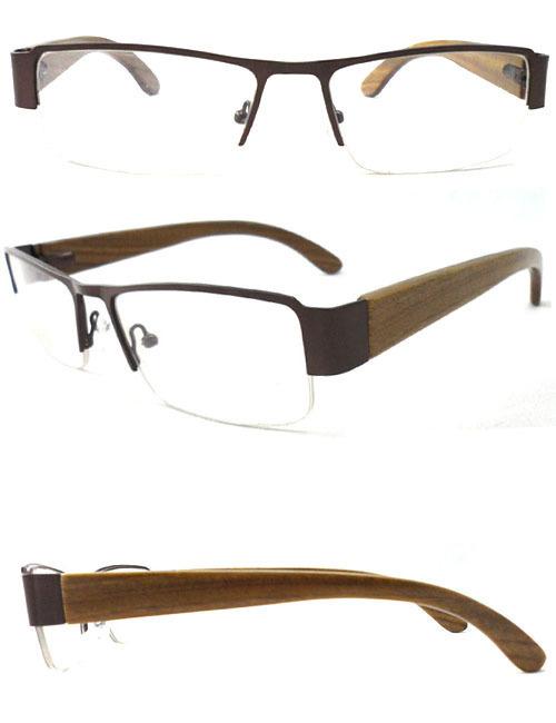 Top fashion nature wood made glasses metal frame add wooden arms optical frame for men full rim big square eyewear 6pcs/lot(China (Mainland))