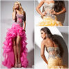 2013 New Arrival Orange Layers Organza Ravishingly Ruffled Organza Skirt Sheer Bodice Short Front and Long Back Prom Dress
