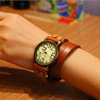 2014 new popular beautiful bracelet leather strap fashion women's quartz wrist watches vintage casual style dress wristwatches