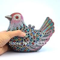 2013 Luxury fashion party Multi-clored Bird Pigeon Mandarin Duck Clutch bag evening Crystals