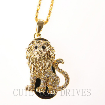 Diamond Jewelry Lion 2GB/4GB/8GB/16GB/32GB Real CapaDrive USB 2.0 Flash Memory Stick U Disk Free Shipping