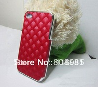 Top sale  high quaility hard case for iphone4s,leather Stereo grid lines,Wholsale 100pcs/lot free shipping