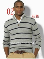 promotion!wholesale. Man's stripe long sleeve sweater. Half of the zipper classical fashion sweater. Size S - XXL