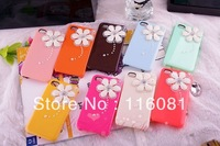 Free shipping,100 pieces / lot, New Fashion diamond Pearl Chrysanthemum Flower Case for iphone4 4s 4g Daisy Case for iphone 4 4s