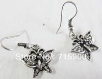 Us $10 mini earring wholesale  Antique silver butterfly earrings