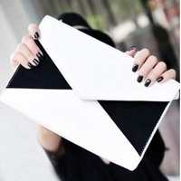 HOT high quality freeshipping women's envelope bag white color block day evening clutch bags Promotion!!