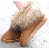 5854 ultralarge wool rubber sole nubuck leather chamois short snow boots
