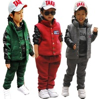 freeshipping  2012 winter boys thick sweatshirt sets of children's clothingset