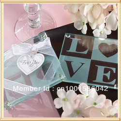 2pcs/set 2012 Wholesale Glass Coaster For Wedding Favor+Free Shipping(China (Mainland))