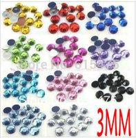 3mm 1900pcs/pack,19olors Acrylic Round Rhinestones,Superior Taiwan Acrylic Flat Back Rhinestones