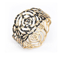 2 colors,New arrival cute rose flower bangle,alloy with withe imitation leather, BA010. Nickel Free, Free shipping.Mix order.