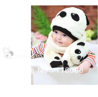 Autumn winter baby hat and scarf set ,kid hat with lovely panda shape design  free shipping