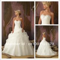 Fashion Bateau Chapel Organza/Beaded A-Line Wedding Dresses Bridal Gowns White/Ivory Custom
