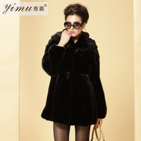 Marten overcoat Women 2012 black medium-long mink fur 10022
