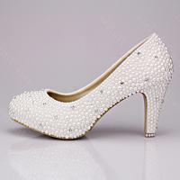 Fashion styal white pearl diamond high heeled wedding shoes dress shoes 10 cm
