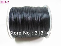 Wholesale 80M/Roll 1.5MM BLACK Braided Nylon Chinese Knot Cord Beading Satin String Rope Jewelry Making Kniting Findings
