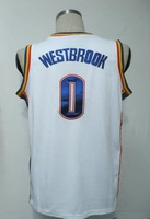 #0 Russell Westbrook Men's Authentic Home White Basketball Jersey
