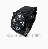 Free shipping, New 2014 Fashion  Mens Quartz  Wrist Watch, Black Square Case& Rubber Strap.