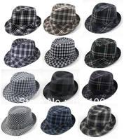 Black Plaid Fashion Fedora Hats Adult Stingy Brim Caps Classical Jazz Hat Cap Mix Order